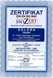 DIN EN ISO 9001 Solera