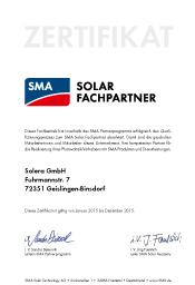 Urkunde Solar Fachpartner SMA
