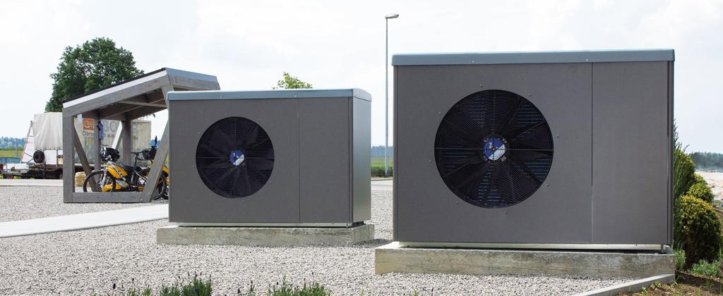Luftwärmepumpen vor Solera Gebäude