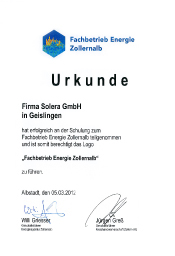 Urkunde Fachbetrieb Energie Zollernalb