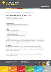 Solera Stellenanzeige Meister/Obermonteur (m/w) für HeizungundSanitär
