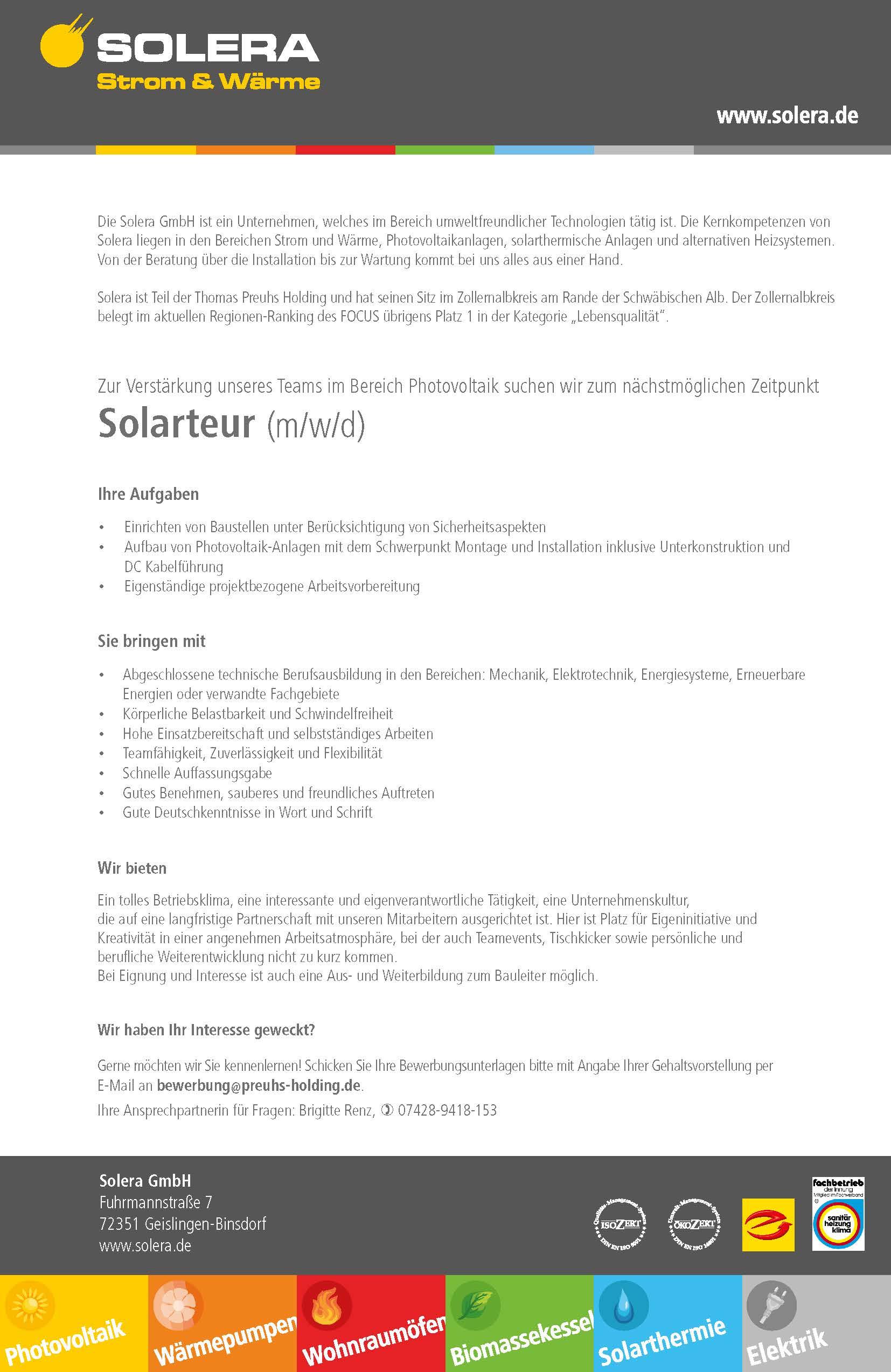 Solera GmbH - Stellenanzeige Solateur