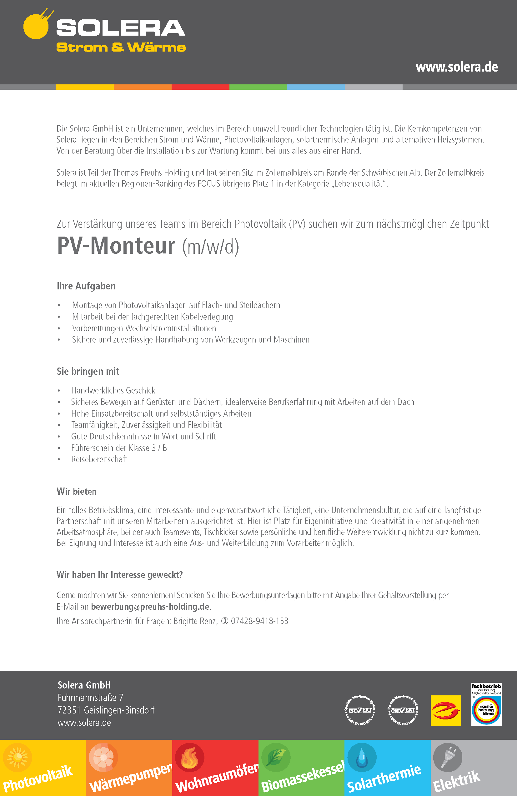 Solera Stellenangebot PV-Monteur