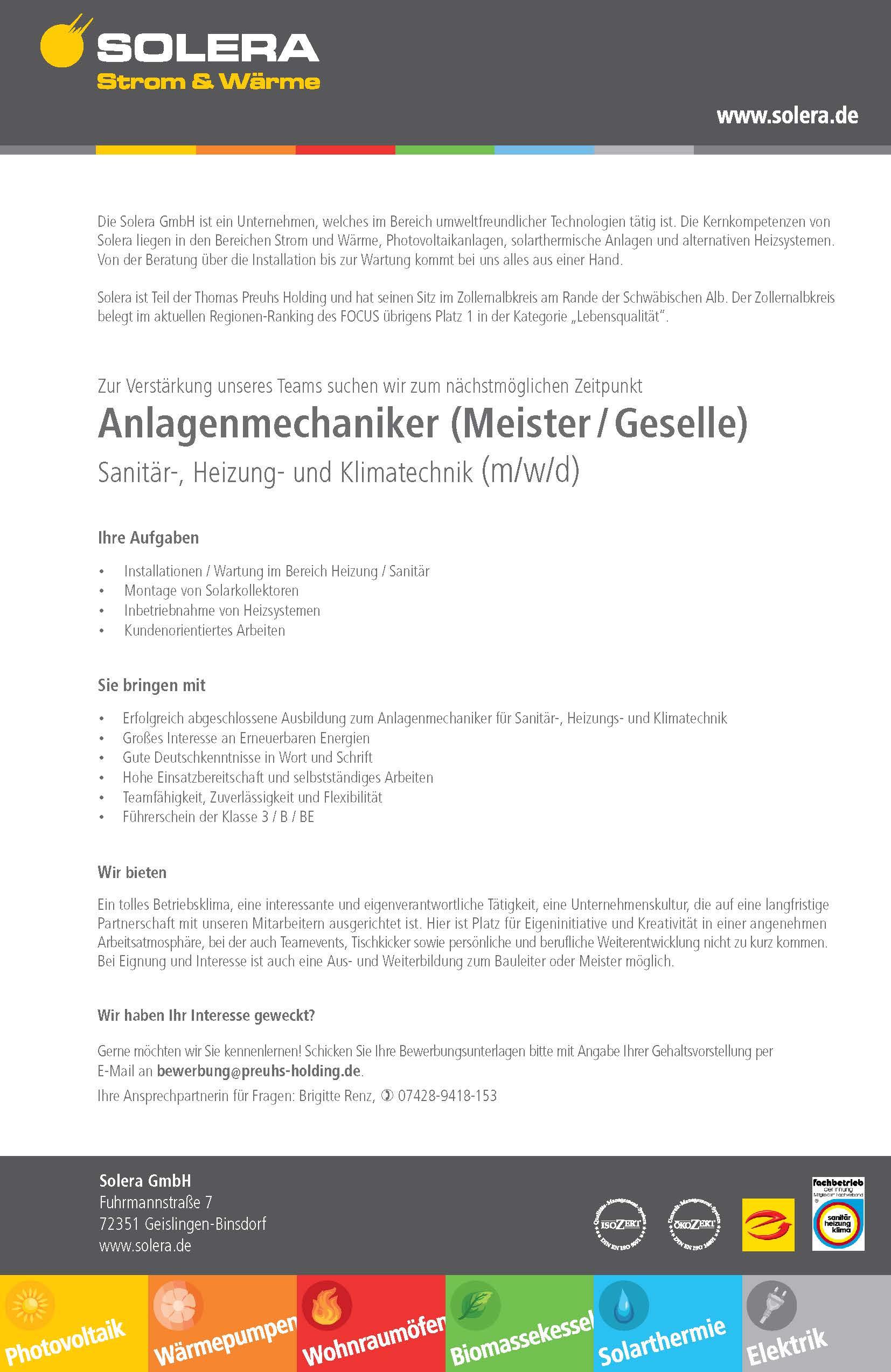 Anlagenmechaniker (Meister/Geselle)